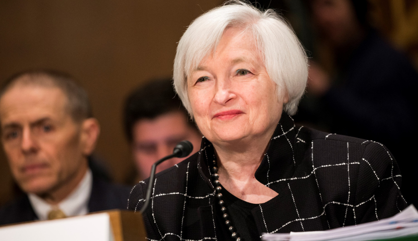 WASHINGTON, USA - FEBRUARY 11: Janet Yellen, Chair of the Federal Reserve Board of Governors, testifies during a Senate Banking Committee hearing on the semiannual monetary report to Congress in Washington, USA on February 11, 2016. (Photo by Samuel Corum/Anadolu Agency/Getty Images)